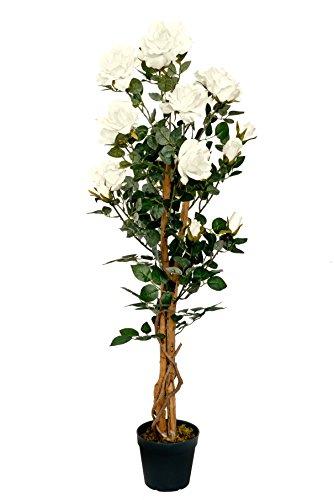 Rosenbaum creme 1,20 m Kunstpflanze Kunstrose Kunstblume
