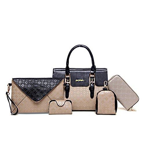 LLXY Taschen PU Tote Cover/6Stück Damen Geldbörse Set für Shopping/Formale/Office/Party & Karriere blau/gold/weiß/schwarz, gold