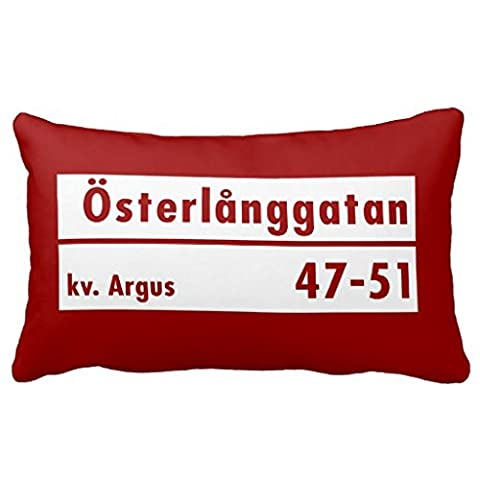 ?sterl?nggatan, Stockholm, Swedish Street Sign Throw Pillow 50% Cotton 50% Polyester 20 x 30 inches
