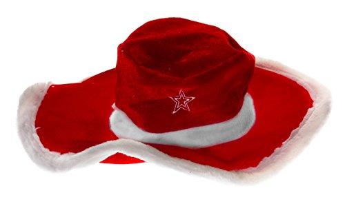 Kascha Weihnachtsmütze - Plüsch Cowboy Hut mit gesticktem -