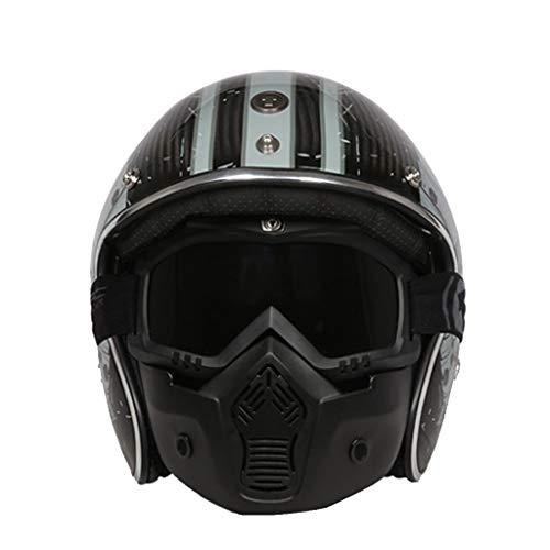 Wcx Motorrad Crash Helme Carbon Skin Jet Helm Abnehmbare Maske, Bluetooth freundlich (Nicht enthalten) (Farbe : D, größe : XXL(62-63CM)) -