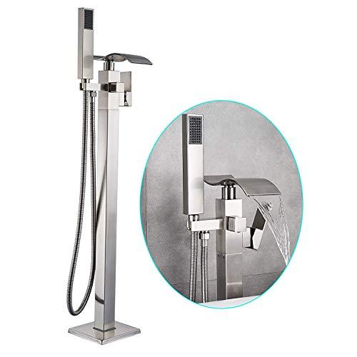 Rozin Freistehende Badewanne Brausemischer aus gebürstetem Nickel mit ABS-Handsprüher einhandiger Bodenmontage Wasserfall Auslauf Badezimmerarmatur