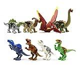 Dinosaurier Minifigur Set 8 - Stegosaurus, Parasarolophus, Pteranodon, Alamosaurus, Spinosaurus, Tyrannosaurus, Tyrannosaurus Rex, Velociraptor - Kompatibel mit den wichtigsten Bausteinmarken