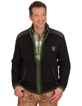Trachten Strickjacke - NETZBACH - Meisterschaftsjacke - grün, schwarzmeliert, grau