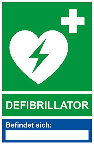 Aufkleber Defibrillator mit Leerfeld Standort - Vinylaufkleber (wetterfest) - 115 x 175 mm