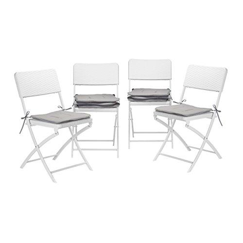 Relaxdays 8X Stuhlkissen, Sitzkissen mit Schleife, Auflage für Stühle in Haus und Garten, waschbar, Stuhlauflage, Polyester, grau