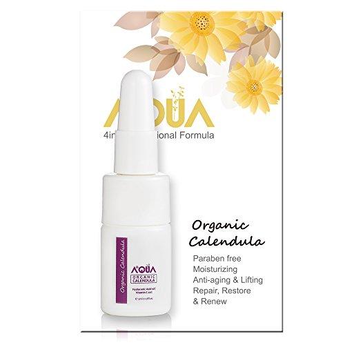 AQUA+ QAI Organic Certified Calendula Extract Skin Serum w/ 20% Vitamin C & 10% Hyaluronic, best for Restoring/Repairing Damage Skin/Wrinkles/Scars, Anti-aging, Moisturizing, Tightening - 5 ml