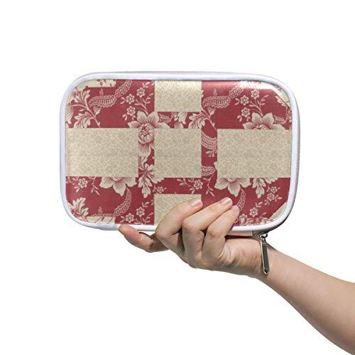 DEZIRO Kosmetiktasche/Kosmetiktasche mit Netztasche für unterwegs, gestepptes Muster, Rot -