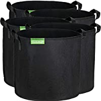 GardenMate 5-Pack 30 litres/8 gallons soft-sided plant pots - Grow bags with soft felt-like texture that promote air root pruning - BLACKLINE
