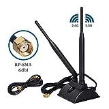 Ocamo Antenna WiFi 6dBi con connettore Maschio RP-SMA Antenna Wireless Dual Band...