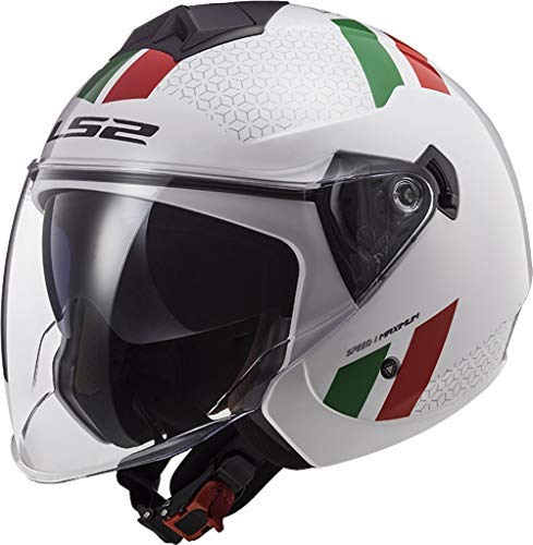 LS2 Casco Moto OF573 TWISTER II COMBO Bianco Verde Rosso, Bianco/Verde/Rosso, M