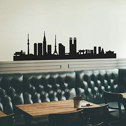 Wandtattoo / Wandaufkleber aus Vinyl, Motiv Tokyo Skyline, 45,7 x 177,8 cm, einzigartig, modernes asiatisches orientalisches Japan, für Schlafzimmer, Wohnzimmer, Geschäft, für drinnen und draußen