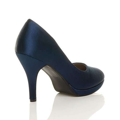 Soirée Hauts Élégant Escarpins Satin Pointure Ajvani Femmes Moyen marine Talons Chaussures bleu Simple xwIFcCqT