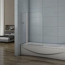 Pare baignoire 100x140cm en verre anticalcaire pivotant à 180°AICA pare-baignoire