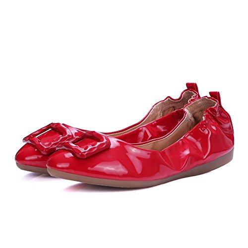 AgooLar Damen Pu Leder Niedriger Absatz Rund Zehe Eingelegt Ziehen Auf Flache Schuhe Rot