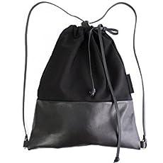 Simo BACKPACK, mochila de tela y piel, mochila de tela y cuero, negro