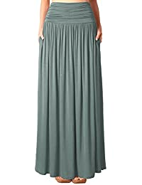 DJT Jupe en Jersey Maxi long Taille extensible Poches- Femme