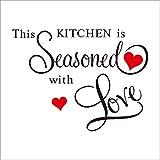 Neyouyou Wandtattoo Charaktere & Quot; Diese Küche Ist Mit Liebe Gewürzt & Quot; Pvc-Entfernbarer Wand-Aufkleber-Dekor Für Küche