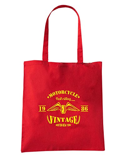 T-Shirtshock - Borsa Shopping TB0369 motorcycle vintage label with hand drawn wings on dusty background Rosso