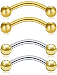 MODRSA 14G Ceja Piercing Joyería Curved Barbell con Pelota Kit Tragus Piercing Labio 10mm 4 Piezas