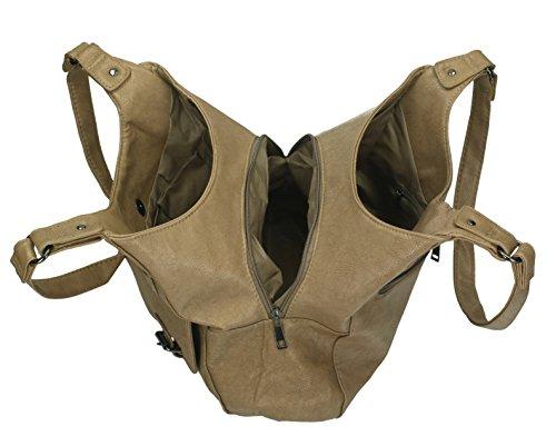 Borsa da donna in similpelle con chiusura a zip, bottoni automatici e due manici di New Bags taupe chiaro