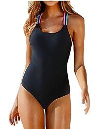 Fossen Mujer Bikinis con Relleno Trajes de una Pieza Ropa de baño Bañador de Escotado por