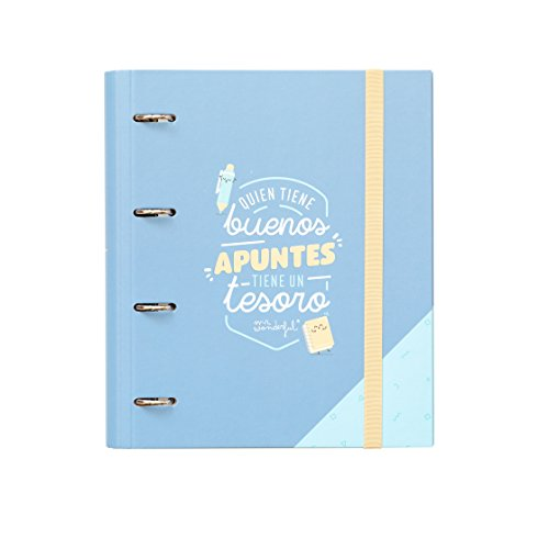 Archivadores bonitos para el colegio Mr. Wonderful. Carpeta con anillas y goma elástica