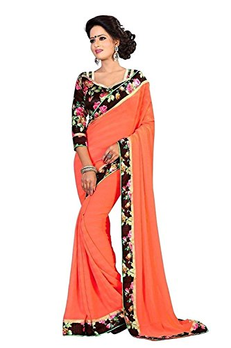 Modential Women's Orange Color Georgette Saree With Lace Border And Printed Blouse...