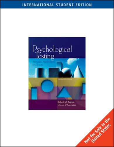 Psychological Testing: Principles, Applications, and Issues by Robert Kaplan (2008-09-18)