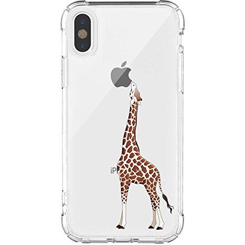 iPhone X Hülle, JIAXIUFEN Amüsant Wunderlich Design Flexible TPU Silikon Schutz Handy Hülle HandyHülle Schale Case Cover Huelle Schutzhülle handyhüllen für Apple iPhone X (2017) - Giraffe Eating