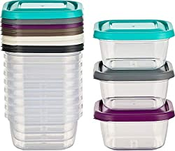 Kigima Mini-Tiefkühldose Frischhaltedose 300ml quadratisch 12er Set bunt