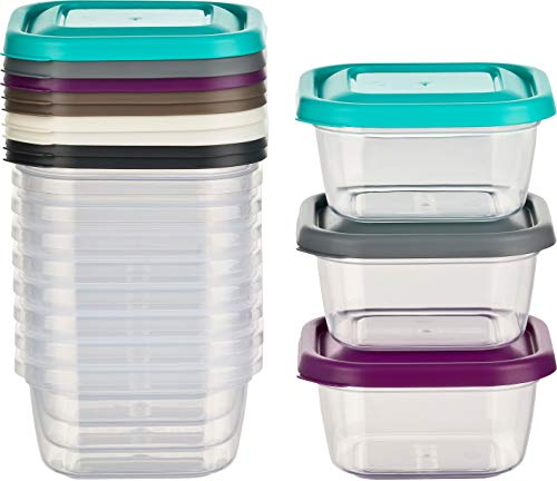 Kigima Mini-Tiefkühldose Frischhaltedose 300ml quadratisch 12er Set bunt Mini-dip-set