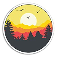 2 x 10cm Sunrise Sunset Vinyl Stickers - Forest Sun Sky Sticker Laptop #18506 (10cm Tall)
