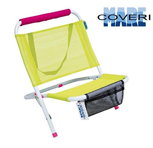 Spiaggina mare in acciaio, sedia a sdraio prendisole da portare in spiaggia e in vacanza, pieghevole con tracolla e sacca portariviste 57 x 47 x 51 cm enrico coveri (giallo)