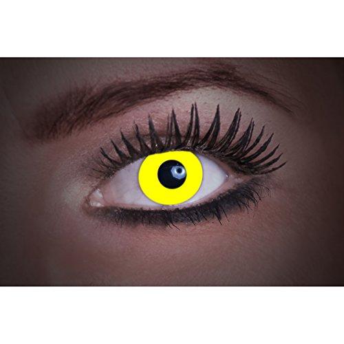 Eyecatcher Color Fun - Farbige UV Kontaktlinsen - Flash Yellow / Gelb - leuchten bei Schwarzlicht - 1 Paar - Ideal für Karneval, Fasching, Halloween & Party (Licht Karnevals-nacht)