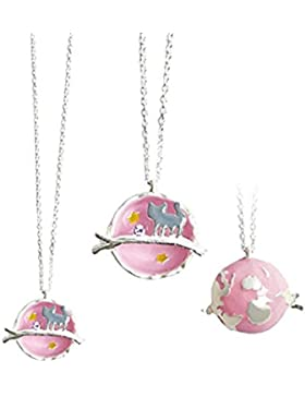 Halskette Planet Katze Silber Rosa Pastell Lang XXL Runder Anhänger 3D Emaille