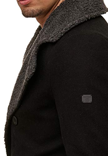 Indicode Herren Basire Winter Wollmantel Jacke Mantel Black S - 6