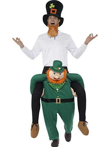 Fancy Ole - Herren Männer Männer Huckepack Piggyback Kostüm, Paddys Leprechaun Kobold trögt Dich, Einteiler Overall Jumpsuit, perfekt für Karneval, Fasching und Fastnacht, One Size, Grün