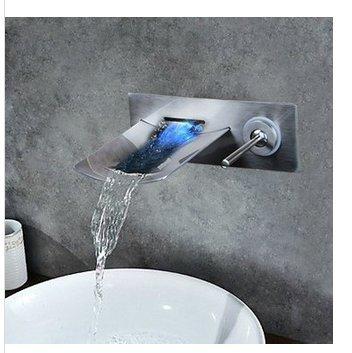 Gowe Solide Messing LED Licht Wasserfall Nickel gebürstet Wand montiert Badewanne Wasserhahn Torneira Dusche Badezimmer Waschbecken Wasserhahn, Einhebelmischer -