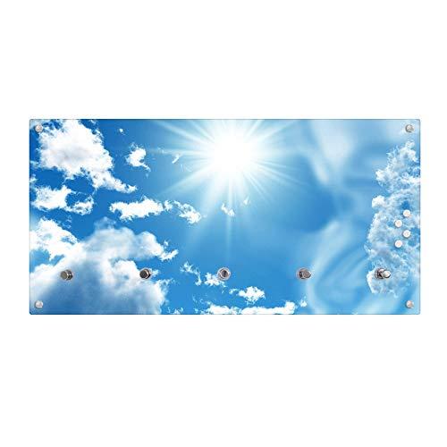 Flurgarderobe für Jacken und Mäntel banjado Wandgarderobe aus Echtglas Garderobenleiste mit Motiv Fünf Vögel Design Garderobe 80x40x6cm groß Paneel mit 5 Haken
