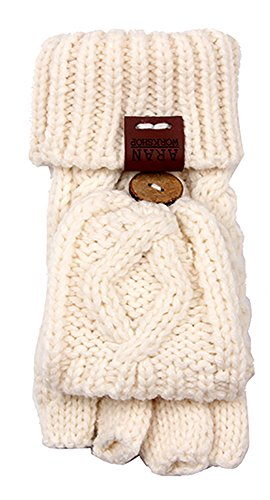 Aran Workshop Cream White Foldover Cable Knit Fingerless Mitts - Cable Knit Mitt
