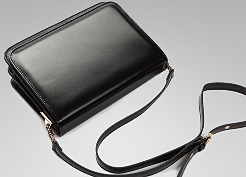 Tina Women's Vintage Simple Flap Buckle Shoulder Bag Crossbody Bag Black Black