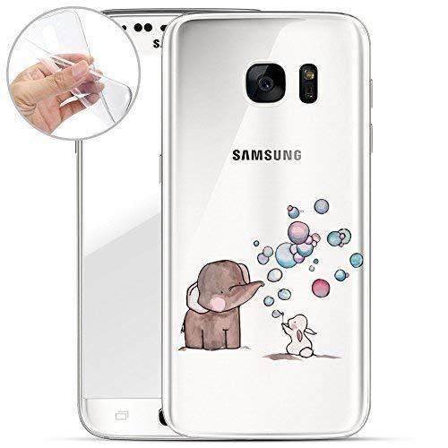 finoo | Samsung Galaxy S7 Weiche Flexible Silikon-Handy-Hülle | Transparente TPU Cover Schale mit Motiv | Tasche Case Etui mit Ultra Slim R&um-Schutz | Elefant Hase Seifenblasen