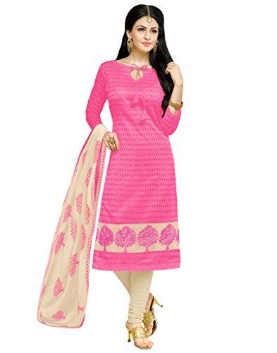 Applecreation Women's Pink Embroidered Chanderi Salwar Suit Kameez (23AKS23011)