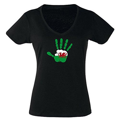 V-T-Shirt - Wales - Hand - Handabdruck - Fahne - Damen Schwarz