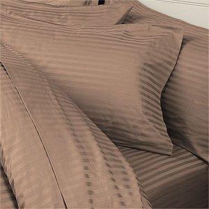 Thread Count Solide Bettdecke (Ägyptische Betten 1000-thread-count Ägyptische Baumwolle Set Bettbezug und 2Kissenbezüge, King, taupe Damast Streifen 1000TC)