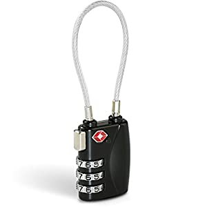 Cadenas TSA, BEZ Cadenas Code à combinaison de 3 chiffres pour Voyage Valise Bagages avec Câble de Sécurité - Noir