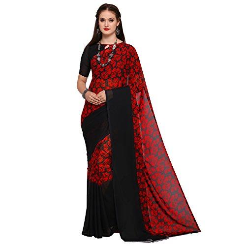 Women's Georgette Printed Sarees - Crimson Red & Jet Black