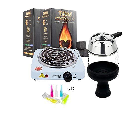 Pack completo: Hornillo con rejilla, 2kg de carbón natural Tom Cococha gold premium, regulador de temperatura...