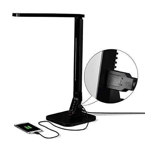 Stylehome 14W LED Dimmbar Tischlampe mit eingebautem USB-Anschluss Schwarz CV-100